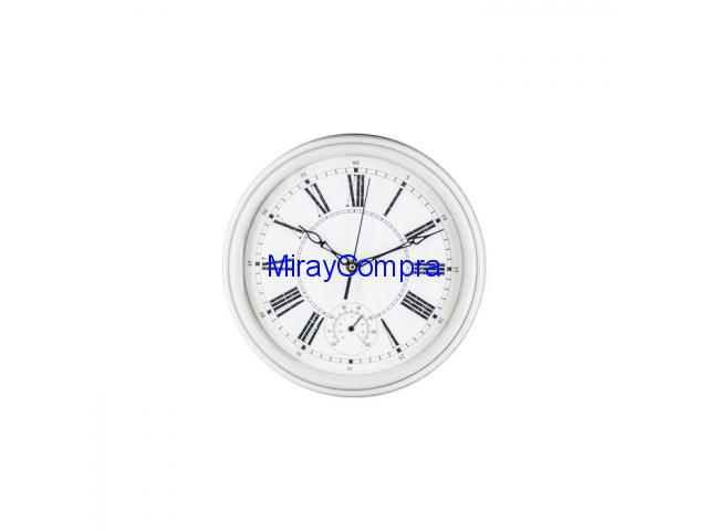 Reloj redondo con termómetro blanco